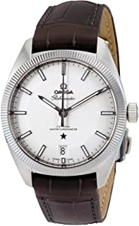Omega Constellation Stainless Steel on Charcoal Leather Strap Men's Watch 130.33.39.21.02.001