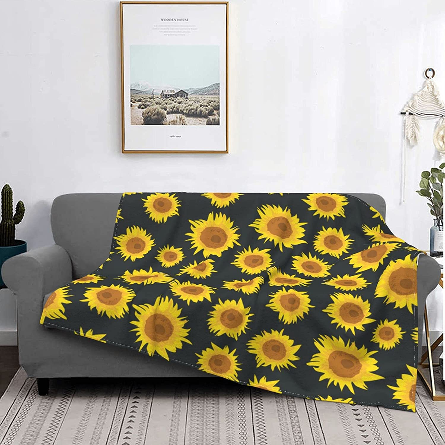 Quantity Max 78% OFF limited Fleece Throw Blankets Seamless Re Pattern Sunflower Illustration