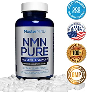 NMN PURE (300mg) | Nicotinamide Mononucleotide Supplement | NAD Booster & Antioxidant Pills | Boost Energy, Metabolism, Anti Aging, Muscle Recovery, Brain Focus & Reduce Stress + Anxiety I 60 (1 Pack)
