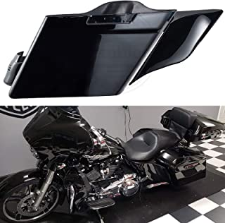 Us Stock Vivid/Glossy Black 4 1/2 inch Extended Bags Stretched Side Covers Fender Extension Fit for Harley Touring Road Glide Street Glide Electra Glide 2014-2019