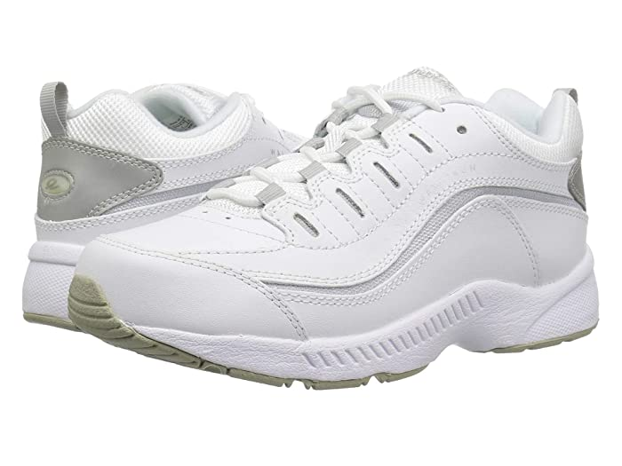 Easy Spirit  Romy (White/Light Grey Leather) Womens Walking Shoes