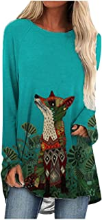 Eaylis Damen Chic Pullover Langarmshirts Drucken Strickpull Langarm Rundhals Casual Sweatshirt Hoodie Bedrucktes Oberteil Shirts Tops