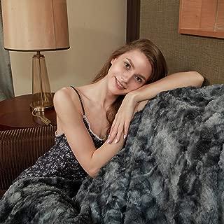 Viviland Faux Fur Throw Blanket, Luxury Soft Plush Shaggy Fleece Blanket, Machine Washable, Blue-Grey, 90