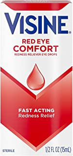 Visine Red Eye Comfort Redness Relief Eye Drops to Help Relieve Red Eyes Due to Minor Eye Irritations Fast, Tetrahydrozoline HCl, 0.5 fl. oz