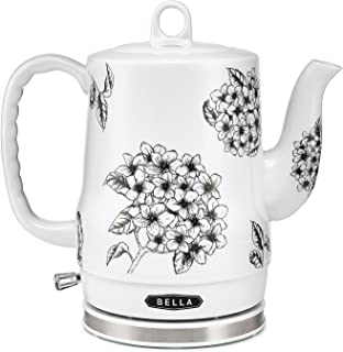 BELLA (13622) 1.2 Liter Electric Ceramic Tea Kettle with Detachable Base & Boil Dry Protection, Black Floral