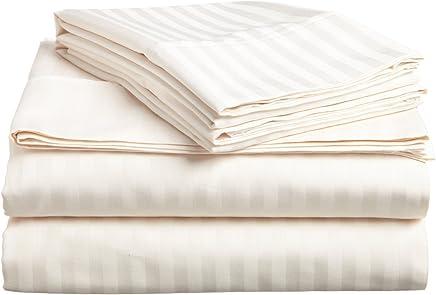 ITALIAN Prestige TWIN Bed Sheet Set,  STRIPED IVORY