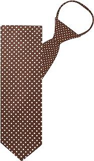 "Jacob Alexander Polka Dot Print Boys 14"" Polka Dotted Zipper Tie - Brown"