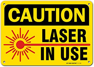 Caution Laser in Use Sign, Made Out of .040 Rust-Free Yellow Aluminum, Indoor/Outdoor Use, UV Protected and Fade-Resistan...