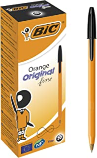 Bic Orange Fine Ballpoint Pens, Fine Point (0.8 mm), Black Ink, Box of 20 - Writing Pens with Long-Lasting Ink, Black