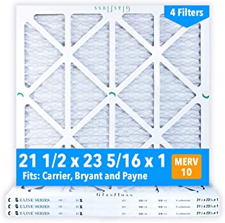 Glasfloss 21-1/2 x 23-5/16 x 1 MERV 10 Air Filters, Pleated, Made in USA (Case of 4) Fits Listed Models of Carrier, Bryant & Payne, Removes Dust, Pollen & Many Other Allergens.