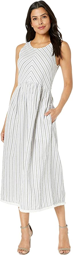 Yarn-Dye Stripe Button Back Dress