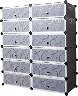 Meerveil Zapatero Zapatero Modular Portatil Plástico PP 12 Cubos Almacenamiento para Baño Aparador Habitación Salón Garaj...