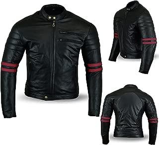 Australian Bikers Gear Chaqueta Moto Black Premium en Cuero Twinstripe Racer, Negro Envejecido y Rayas Rojas Oxblow, con Protecciones Homologadas y Extraíbles, Talla Xl