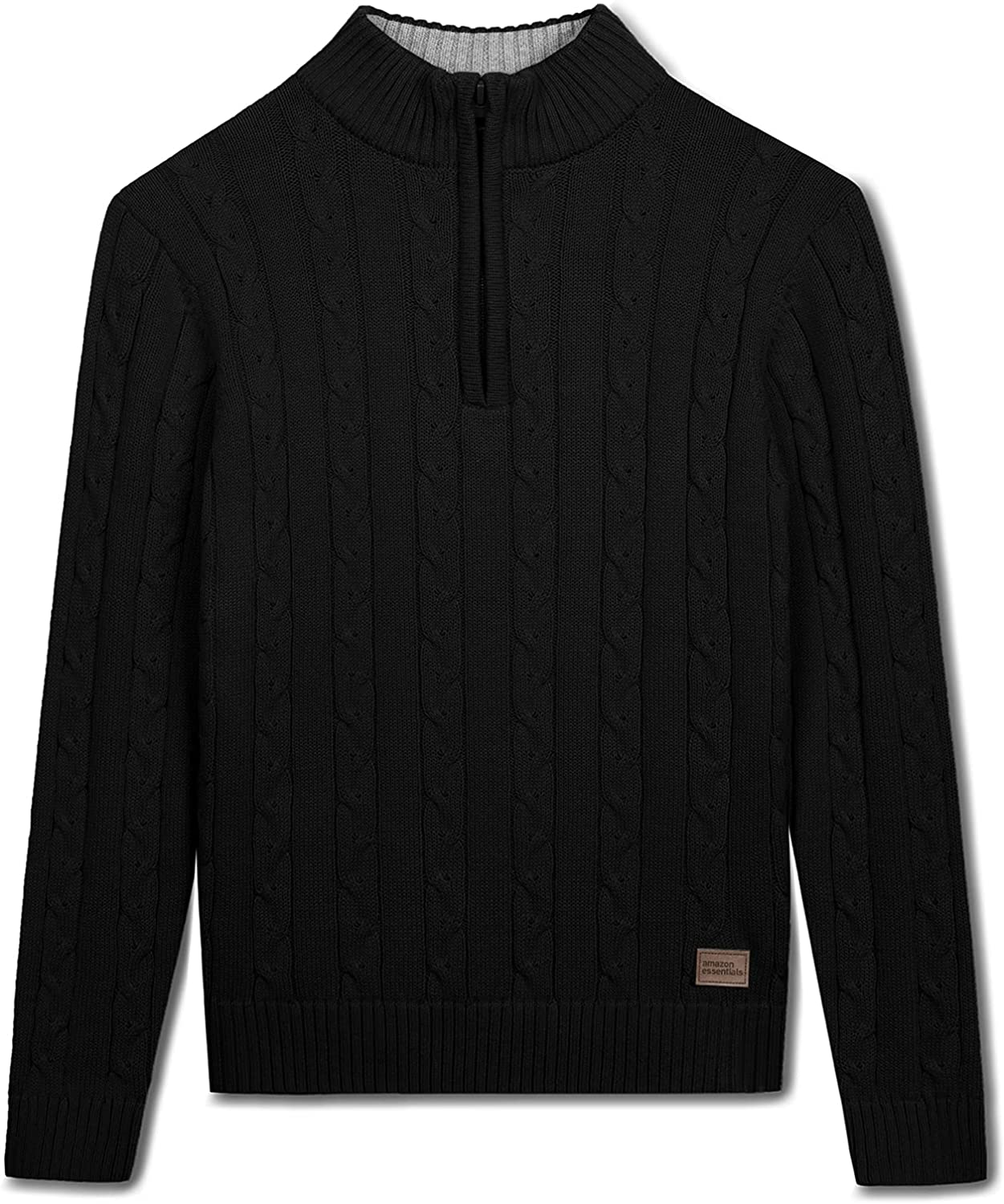 Amazon Essentials 1/4 Zip Sweater Casual Cable Knit Long Sleeve Pullover Sweatshirt for Boys Black 5-6X