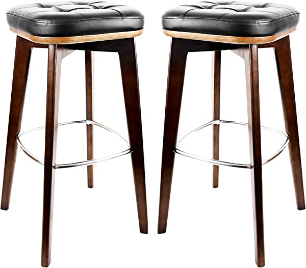 HouseStyles Square Leg Bar Stool Antique Walnut Set Of 2 Black A