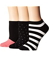 Kate Spade New York - Stripe Multi 3-Pack No Show Socks