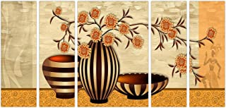 Art Amori Morden Art Vase and Flower set of 5 MDF Painting Multicolour 12x18 Inch - 1 Piece + 6x18 Inch-4 pieces for Wall ...