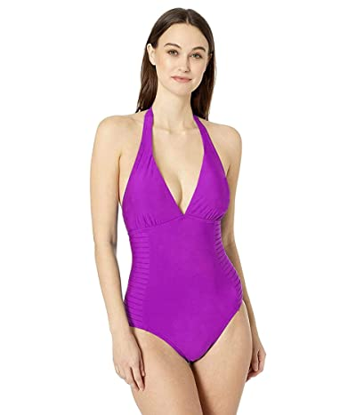 Calvin Klein Halter Pleated Side One Piece With Removable Soft Cups