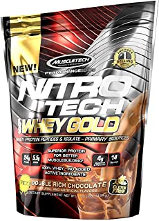 Muscletech ニトロテック100% ホエイゴールド(アイソレート+ペプチド)ダブルリッチチョコレート454g(海外直送品)