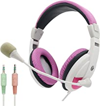 VCOM Computer Headphones with Adjustable Microphone & Volume Control, 6.9ft Long Cord Wired Lightweight Over Ear Headsets, 2X 3 Position 3.5mm Jack for Desktop PC Laptop Teens Adults Girls(Pink)