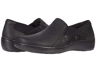 Clarks Cora Lilac (Black Leather/Textile Combination) Women