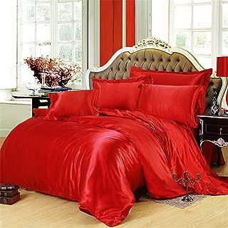 Lotus Karen Luxury 3 Piece Silky Satin Duvet Cover Set Ultra Soft Solid Color Satin Silk Bedding Comforter Cover Pillowcases Set