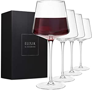 Modern Red Wine Glasses Set of 4 – Hand Blown Crystal Wine Glasses – Tall Long Stem Wine Glasses – Unique Large Wine Glasses with Stem For Cabernet, Pinot Noir, Burgundy, Bordeaux – 22oz Clear