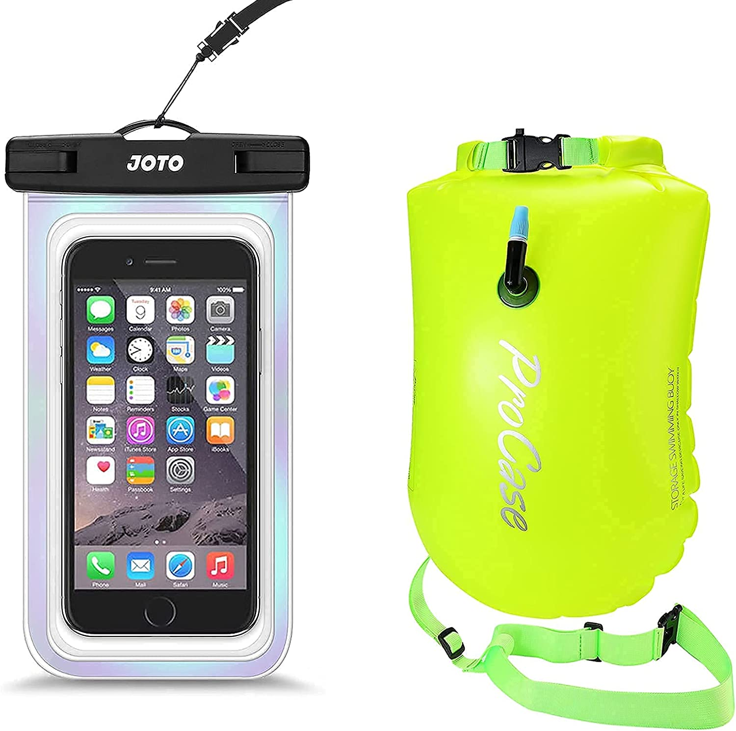 JOTO Universal Waterproof Pouch Cellphone Dry Bag Case Bundle with ProCase 28L Swim Safety Float Swim Buoy Tow Float with Waterproof Drybag