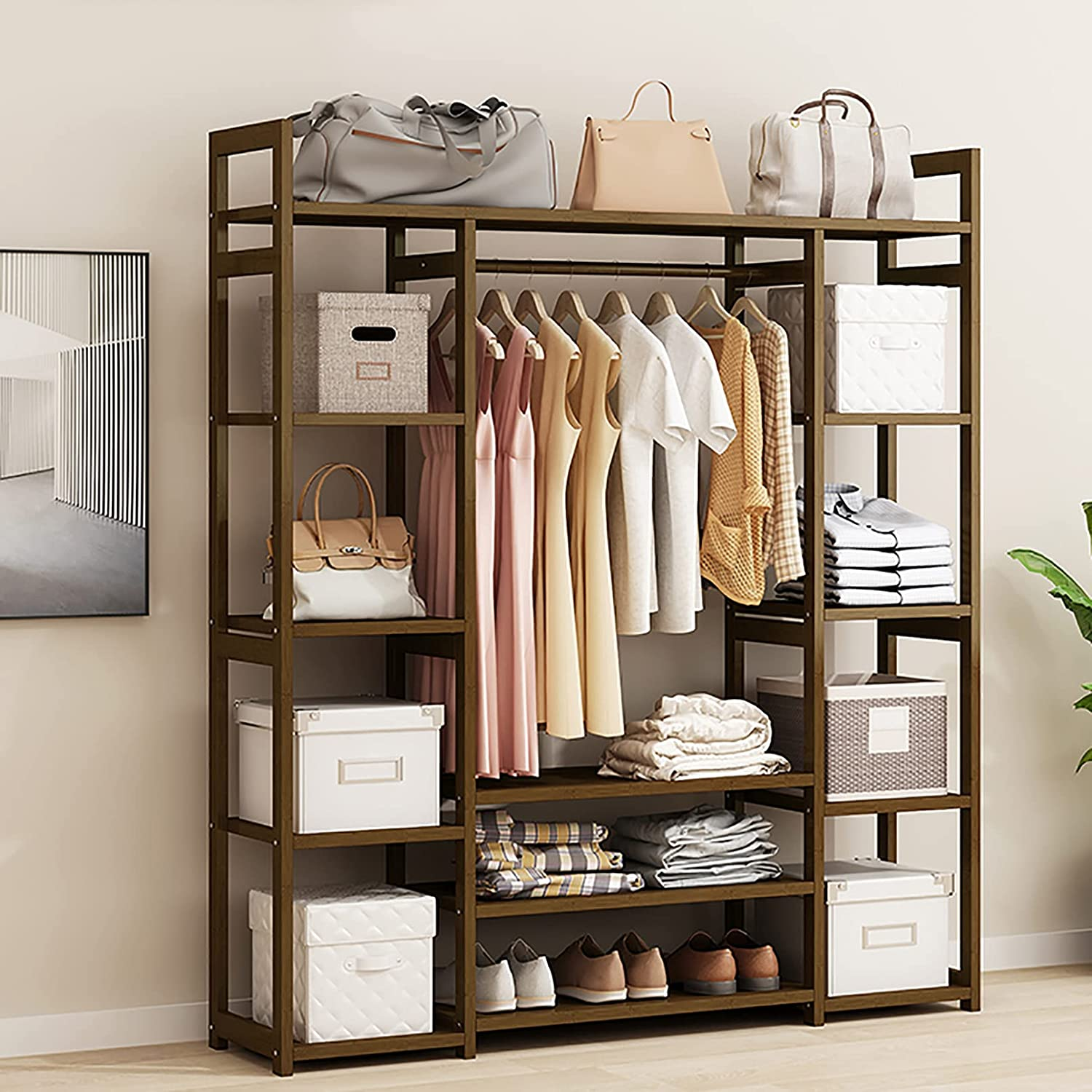 LJHSS Bamboo Clothes wholesale In a popularity Rack with Top Multifunction and Shelves Rod