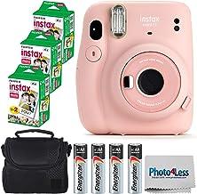 Fujifilm Instax Mini 11 Instant Camera - Blush Pink (16654774) + 3x Packs Fujifilm Instax Mini Twin Pack Instant Film + Batteries + Case - Instant Camera Bundle