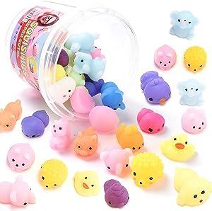 32 PCS Mochi Squishy Toys Mini Kawaii Stuff for Kids Small Animals Squishies Pack Fidget Toys Filled with Clear Box