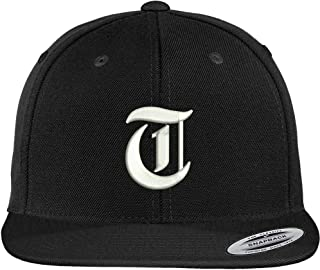 Trendy Apparel Shop Old English T Embroidered Flat Bill Snapback Cap