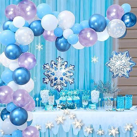 Decoraciones Cumpleaños de Fiesta para Niños,Frozen Kit de guirnaldas con globos, Globo Frozen de Copo de Nieve Globos de Feliz Cumpleaños Globo Decoración para Niña