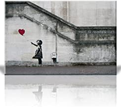 Wall26 Canvas Print Wall Art - There is Always Hope - Girl and red Heart Balloon - Street Art - Guerilla - Banksy Street A...