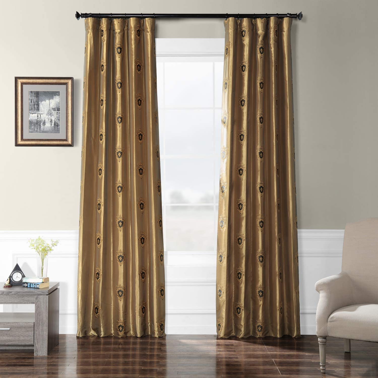 HPD Half Price Drapes EFSCH-18057-84 Embroidered Faux Silk Taffeta Curtain 50 x 84 Zelda gold