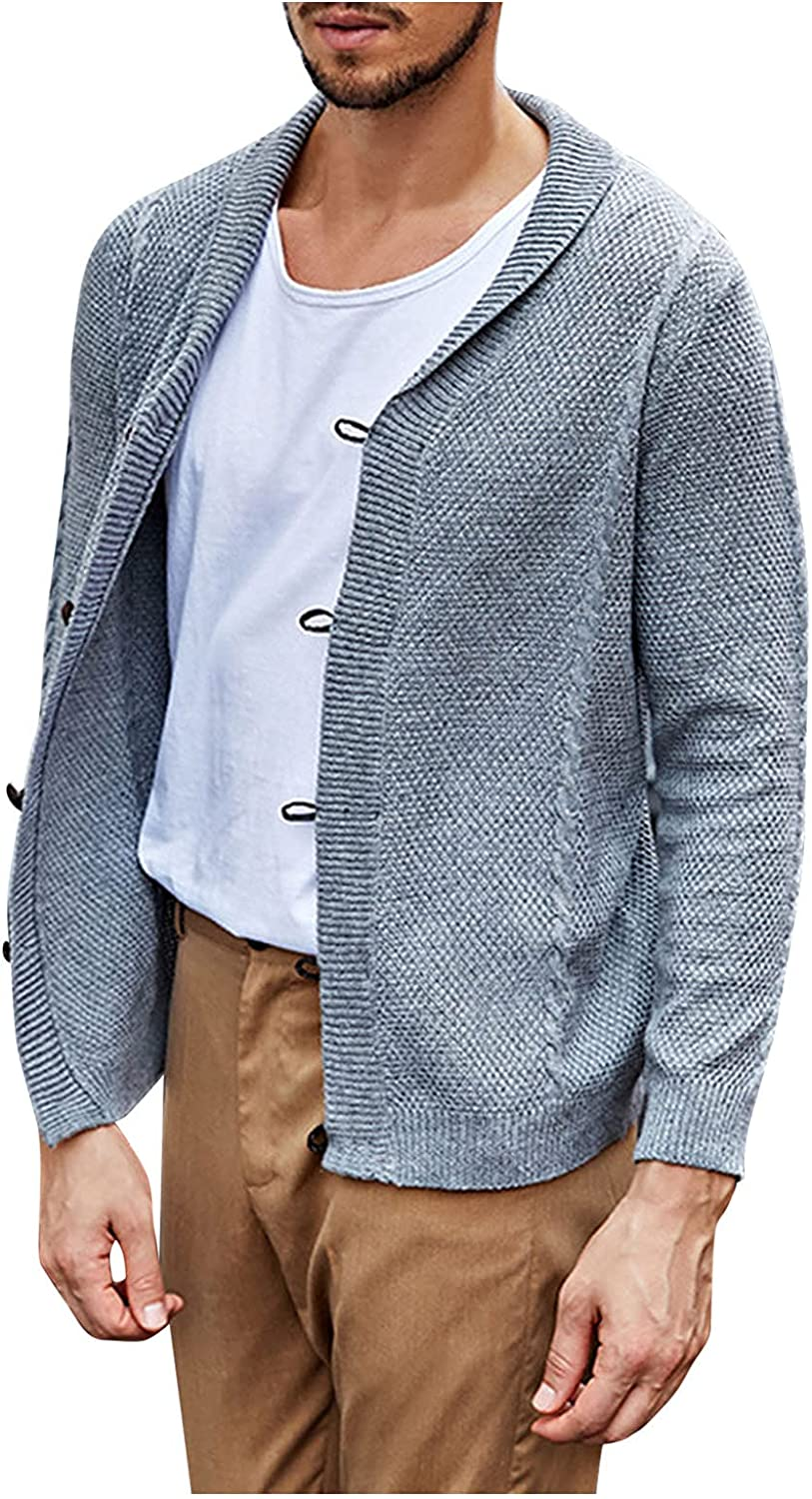 PAOGE Men's Autumn and Winter Pullover V-Neck Solid Color Cardigan Sweater Coat