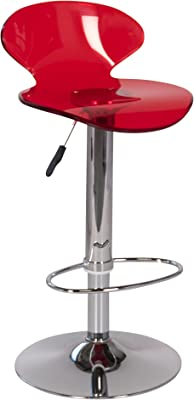 PoliVaz Transparent Lucite Swivel Bar/Counter Stool, Cherry Red