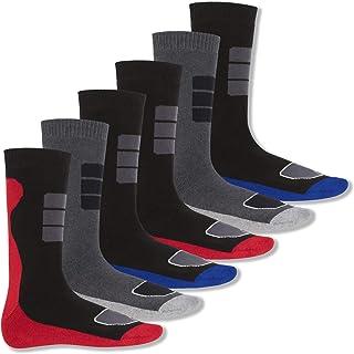 6 Pares Calcetines - terry de rizo con diseño deportivo
