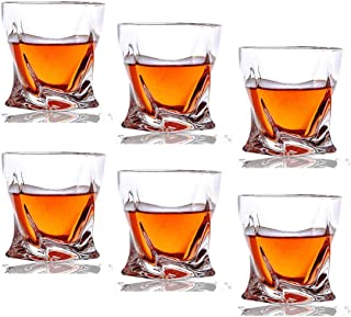 Kingrol 6 Pack Crystal Whiskey Glasses - 10 oz Twist Scotch Glasses for Drinking Bourbon, Cognac, Irish Whisky, Glassware Gift Set