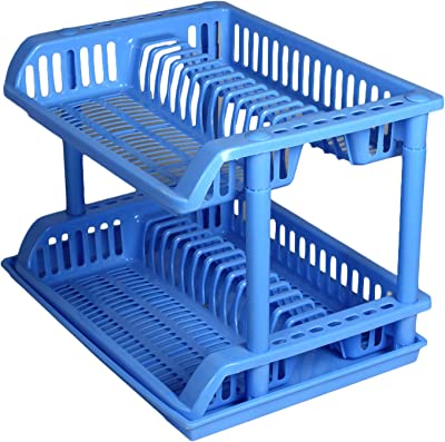 GTC Kitchen Dish Drainer Rack Plastic 2 Layer Dish Drainer Rack Basket 1 Piece (6868)