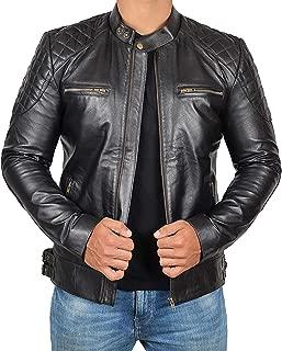 Black Café Racer 100% Real Lambskin Leather Jacket Mens