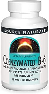 Source Naturals Coenzymated B-6 25mg P-5 Pyridoxal-5 Phosphate Fast-Acting, Quick Dissolve Sublingual Vitamin Supports Ami...