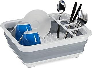 Relaxdays Falt afdruiprek, servies & bestek, afdruiprek keuken & camping, opvouwbaar, siliconen, kunststof, wit-grijs 1002...