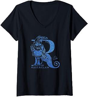 Femme Harry Potter Ravenclaw Glitter T-Shirt avec Col en V