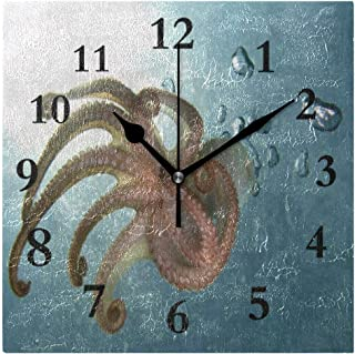 FunnyCustom Underwater World Octopus Tentacles Square Wall Clock 7.8 Inch Hanging Clock for Living Room/Kitchen/Bedroom