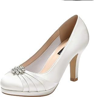 1d967cccd0e5 ERIJUNOR Women Comfort Mid Heel Pumps Closed-Toe Satin Wedding Evening  Party Dress Shoes