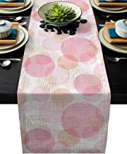 Table Runner Romantic Circle Overlap - Durable Washable Cotton Linen Table Top Cover Placemats for Kitchen Dinning Tea Table Use 13