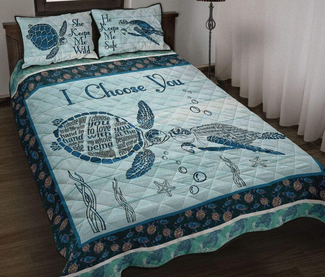 Manufacturer regenerated product Personalized Turtle I Choose You Blue Gift for Birthday Da Max 79% OFF Quilt