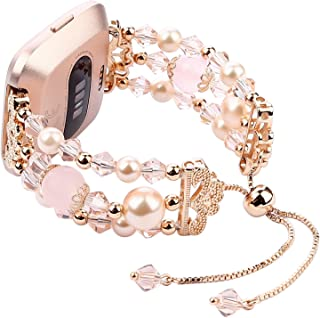 Imymax for Fitbit Versa Bands Bracelets Adjustable Crystal Pearl Bracelet Replacement Women Girls Wristband for Fitbit Versa Lite Smart Watch Updated Style (Rose Pink)