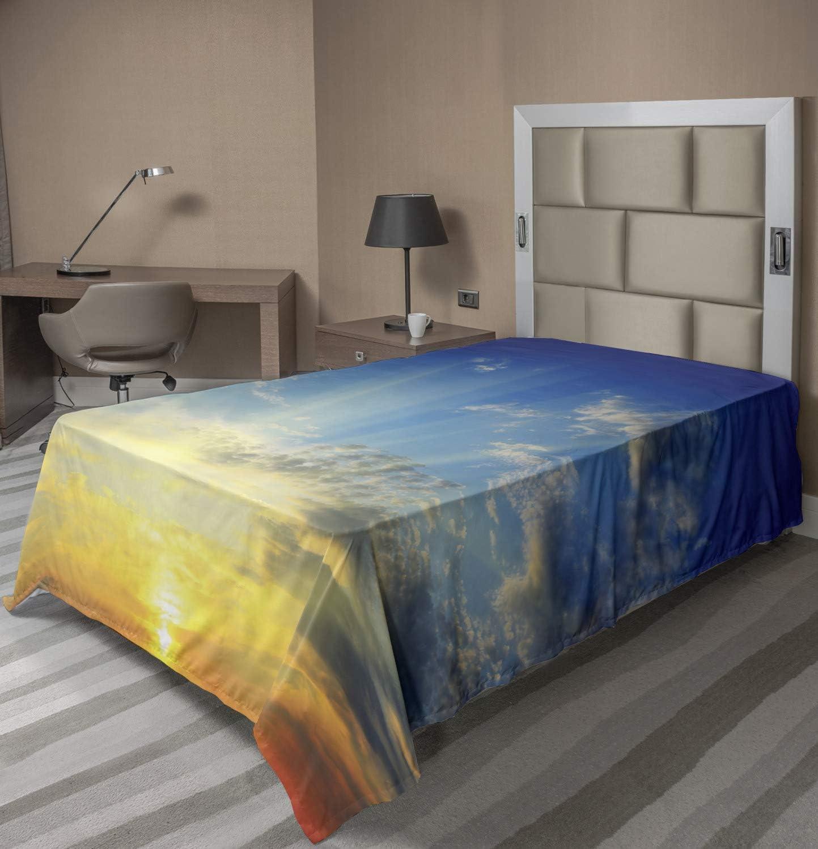 free Lunarable Yellow and Blue Kansas City Mall Flat Sheet The Sun Above Beaming Hori